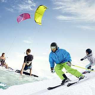 Collage Skifahrer im Schnee und Windsurfer auf dem Wasser mit Frühbucherrabatt-Hinweis