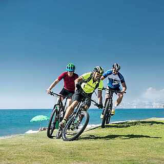 Drei Manner, die auf Mountanbikes am Meer entlang fahren
