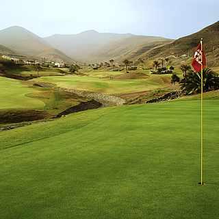 Hügeliger Golfplatz mit Palmen und rote Fahne im Vordergrund