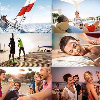 Collage aus neun Urlaubsaktivitäten