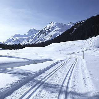 Eine Skilanglauf Strecke von ROBINSON die einem Winterwunderland ähnelt