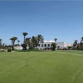 Golfplatz unter Palmen mit weißem Gebäude