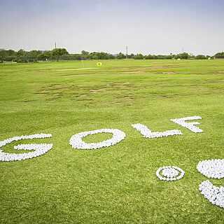 Das Wort Golf und der Robinson Papagei liegt aus Golfbällen geschrieben im Rasen