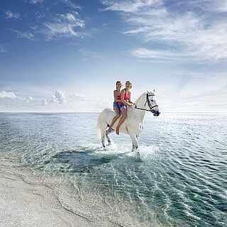 Zwei Schwestern reiten auf einem weißen Pferd im flachen Wasser am Strand