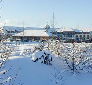 Winterlich verschneite Clubanlage ROBINSON CLUB FLEESENSEE, Deutschland