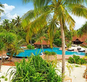 Clubanlage Palmen und Pool ROBINSON CLUB MALDIVES Malediven