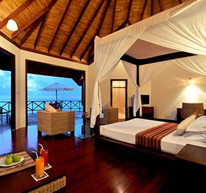Himmelbett Ausblick ROBINSON CLUB MALDIVES Malediven