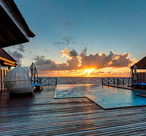 Zimmer Sonnenuntergang ROBINSON CLUB MALDIVES Malediven